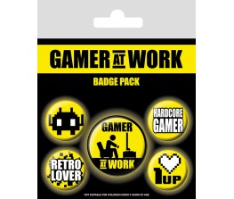 Pins Set Gamer At Work - Collectables