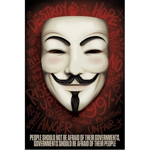 Αφίσα V for Vendetta - Governments Should Be Afraid